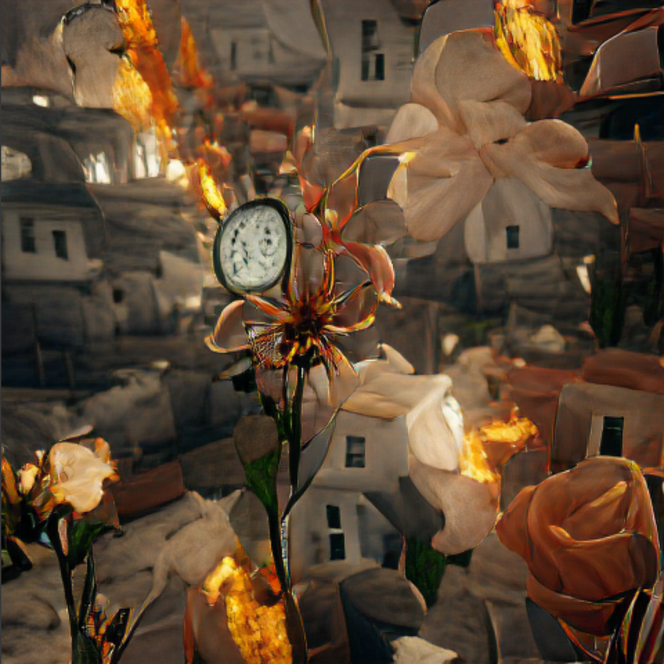 VQGAN+CLIP generated image using a surrealist poem phrase, a vague flower and vague clock; some fire